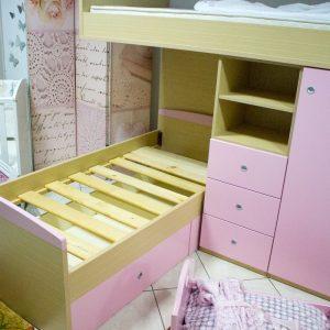 Κουκέτα Υπερυψωμένη με τάβλες και αποθηκευτικό χώρο σε απόχρωση Δρύς - Ρόζ μάτ 90x200